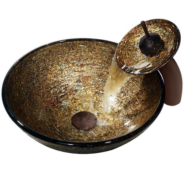 Vigo Textured Copper Vessel Sink and Waterfall Faucet homewares - Vessel Sinks Bathroom