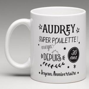 mug anniversaire personnalis pour super poulette mug. Black Bedroom Furniture Sets. Home Design Ideas
