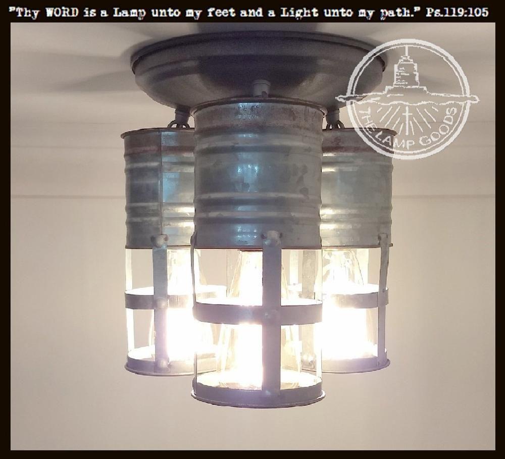 Galvanized Farmhouse Barn Ceiling Light Trio with Edison