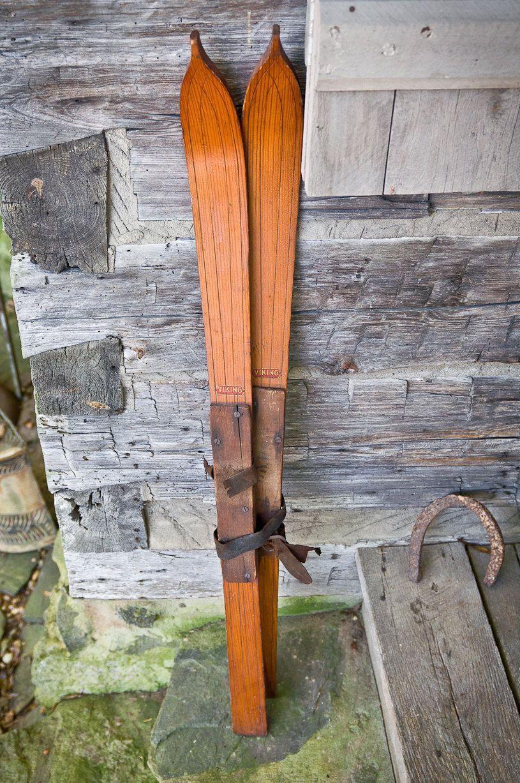 Vintage Children S Wooden Viking Snow Skis Made In Usa