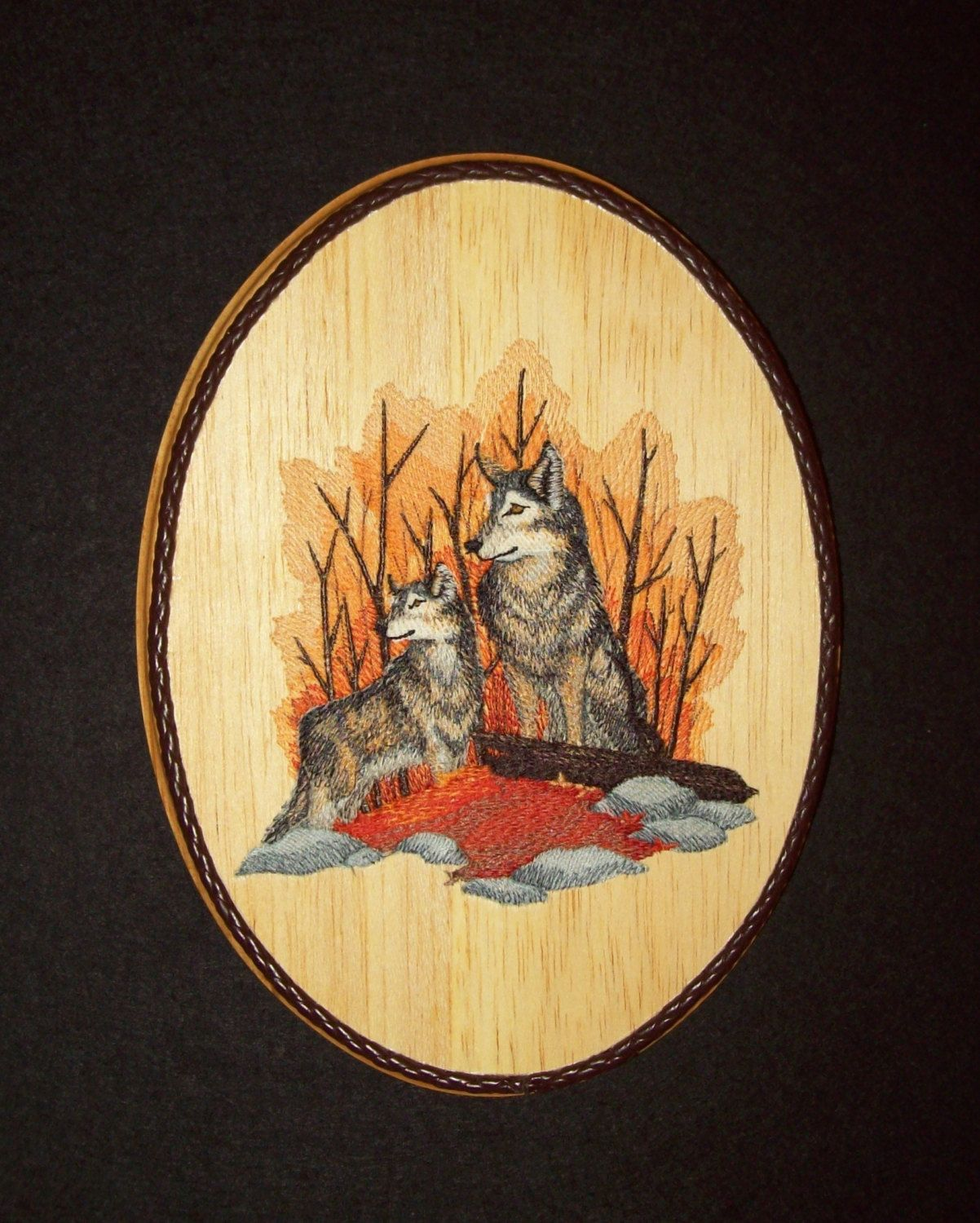 Wolves in Autumn Woodland & Wildlife Wall Decor/Embroidery on Balsa ...