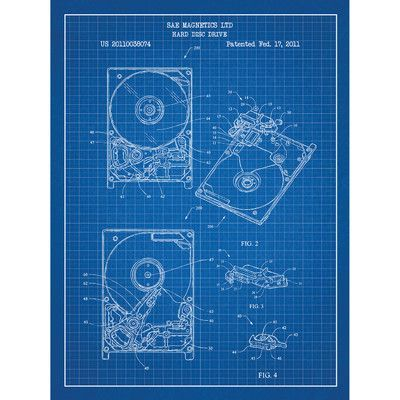 Inked and Screened Tech and Gadgets 'Hard Drive' Silk Screen Print Graphic Art in Blue Grid/White Ink