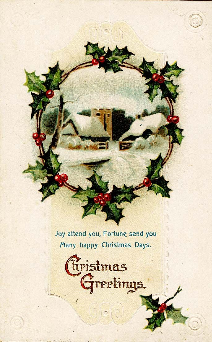 Christmas #vintage #postcard #holly | Antique Christmas | Pinterest ...