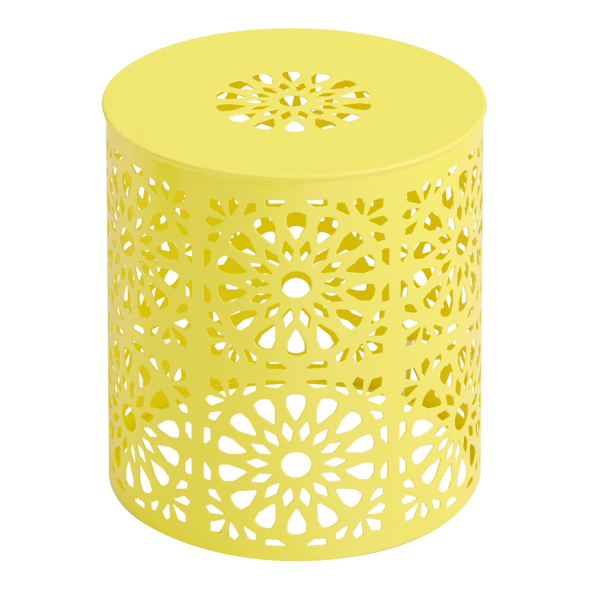 yellow soleil outdoor accent stool in