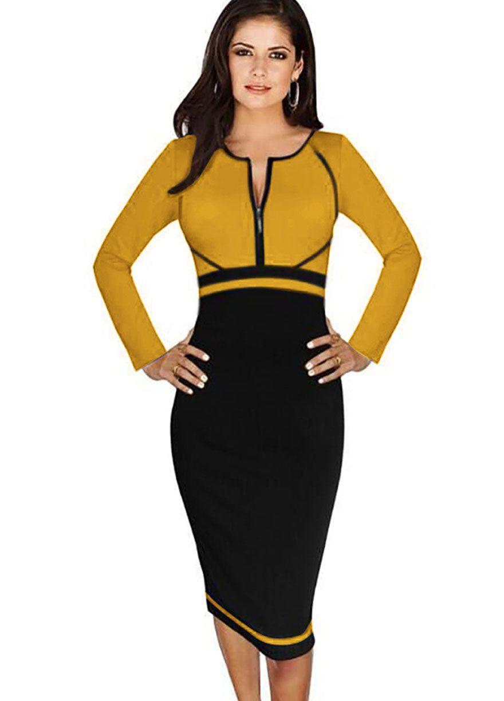Big Size High Waist Patchwork Long Sleeve Slim Work Dress Work