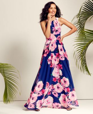 702980b95 I.n.c. Petite Belted Floral-Print Maxi Dress, Created for Macy's - Pink  Florals 16P