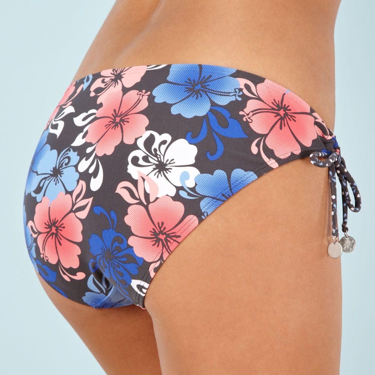 Mantaray Dark Grey Shadow Hibiscus Flower Bikini Bottoms At