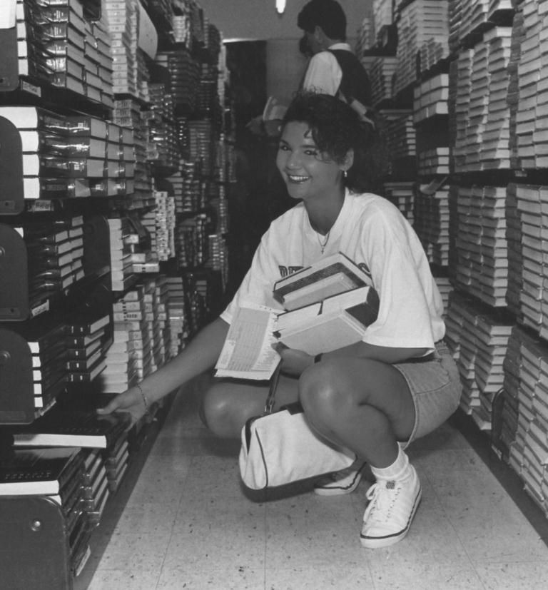 Remember the 1990s?! Check out the 1990s era UCM (then Central Missouri State University) student in the bookstore.