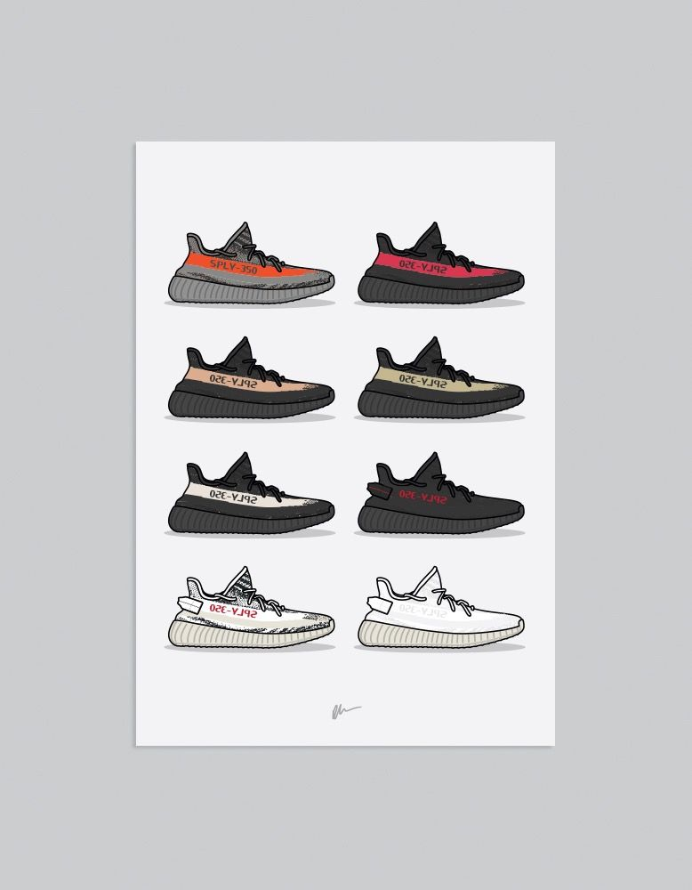 Image of ☆ NEW ☆ Yeezy 350 Collection Print Hype Wallpaper, Yeezy Iphone Wallpaper,