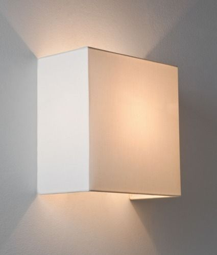 Simple Fabric Wall Light - Square Shade - Up & Down Lighting