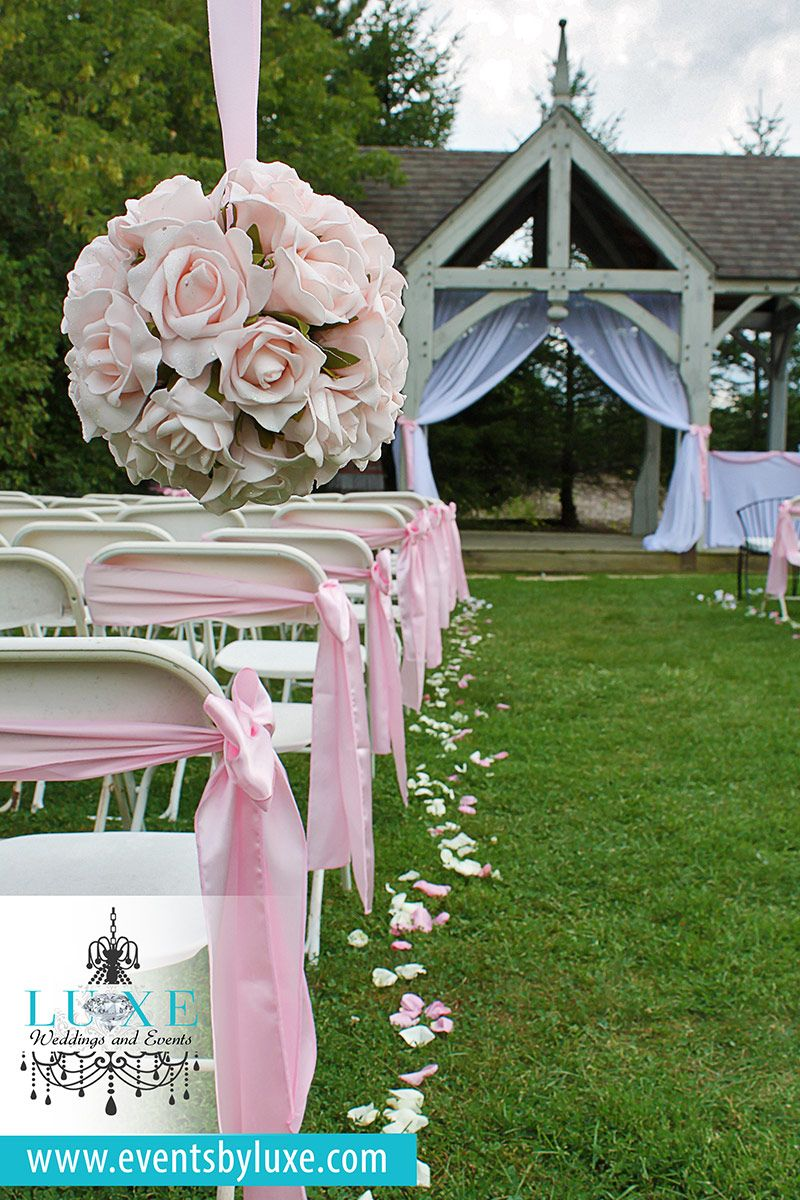Pink And White Wedding Ceremony Decor Pink Pomanders Wedding