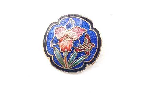 Blue Cloisonne Brooch with Floral Pattern and Butterfly