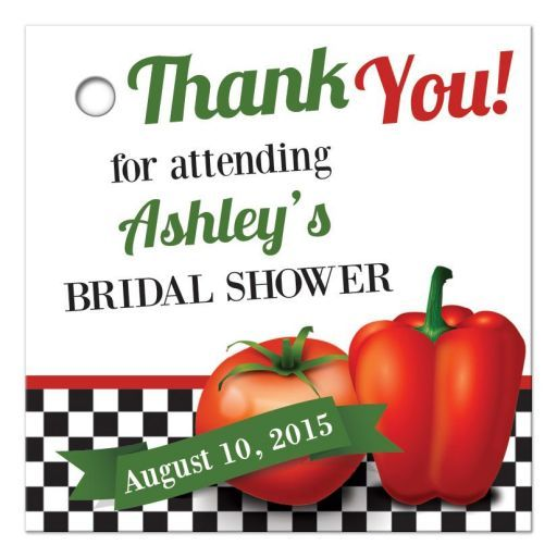 Retro Italian kitchen or cafe themed bridal shower favor tags or gift tags. The design features a black and white checkerboard (check) pattern with a red tomato and red pepper. The colors are Italy's official colors of red, green, and white....
