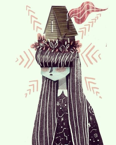 #illustration #girl#house so glad it's the weekend