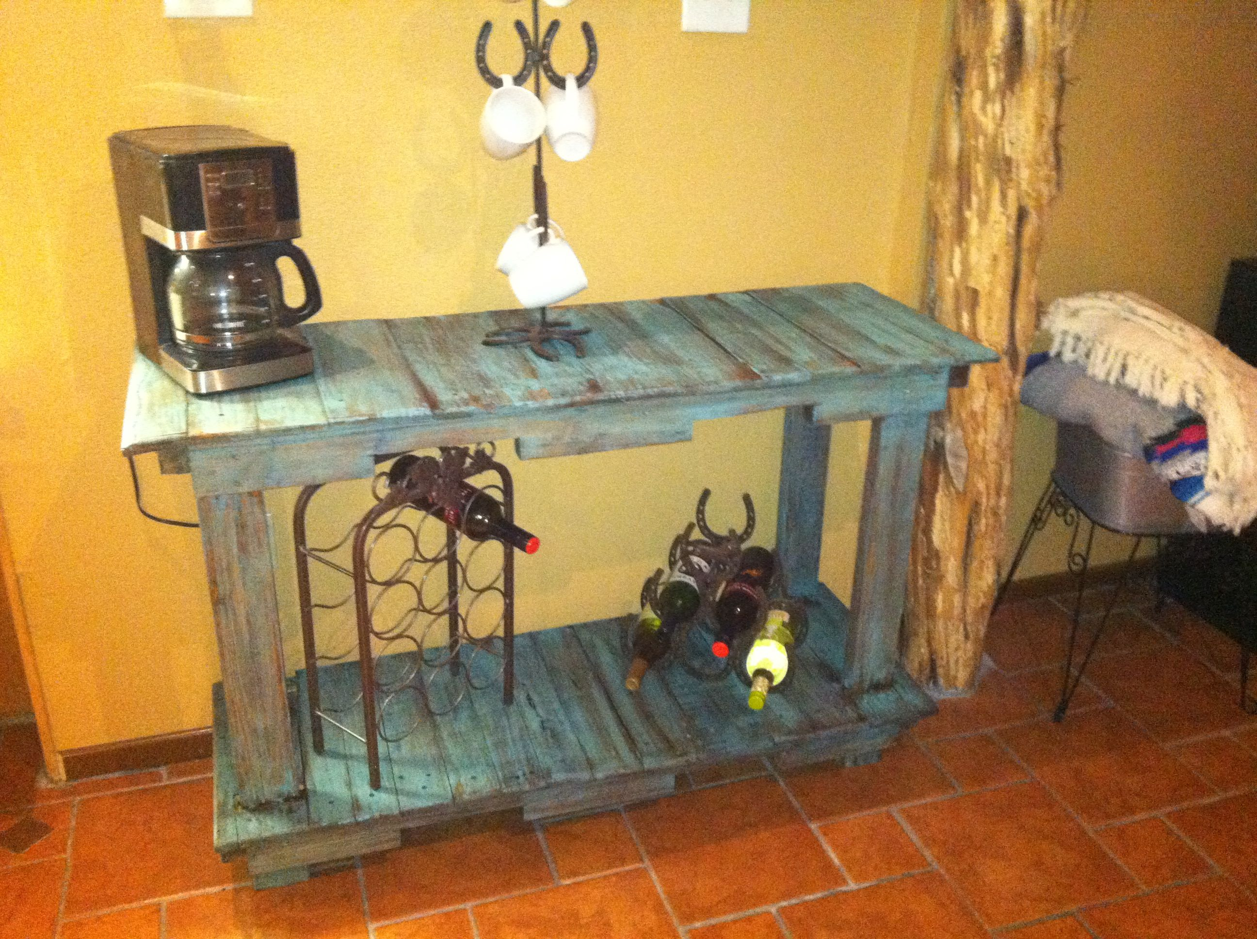 wood pallet coffee bar. really cool table, could make one for the