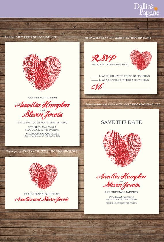 Finger print Wedding Invitation RSVP Thank your card Save the date – Printed Invitation Cards