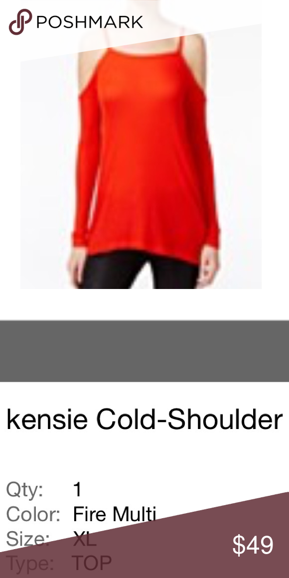 NWOT Kensi fire red cold shoulder top women's XL NWOT Kensi fire red cold shoulder too. Size XL. I got this at Macy's. soft & comfortable. Women's Ladies Fashion Check out my closet, we have a variety of women's, ladies, men's, kids, Victoria Secret, Bath and Body Works, handbags 👜 purse 👛 Aerosoles, shoes 👠fashion jewelry, necklace, earrings, bracelet, clothing, dress, blouses, skirts, Beauty, home 🏡  & more...  Ships via USPS. Smoke-Free & Pet-free. Offers 30% OFF bundle discount…