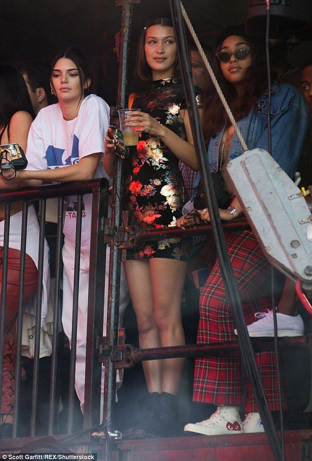 392a8ba17c08 Bella Hadid and Kendall Jenner were joined by Kylie Jenner to support her  beau Travis Scott who performed at the Wireless Festival at Finsbury Park  in ...