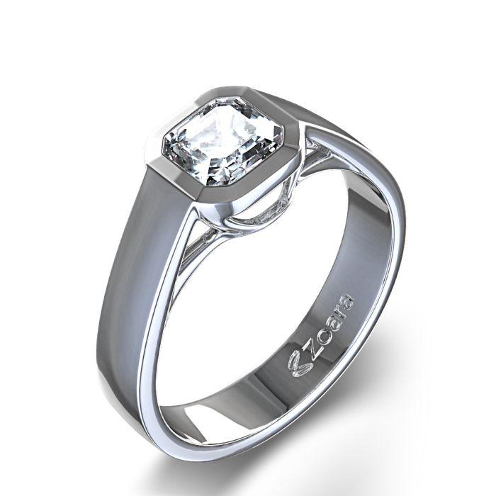 Asscher Cut Bezel Set Diamond Ring in 14k White Gold