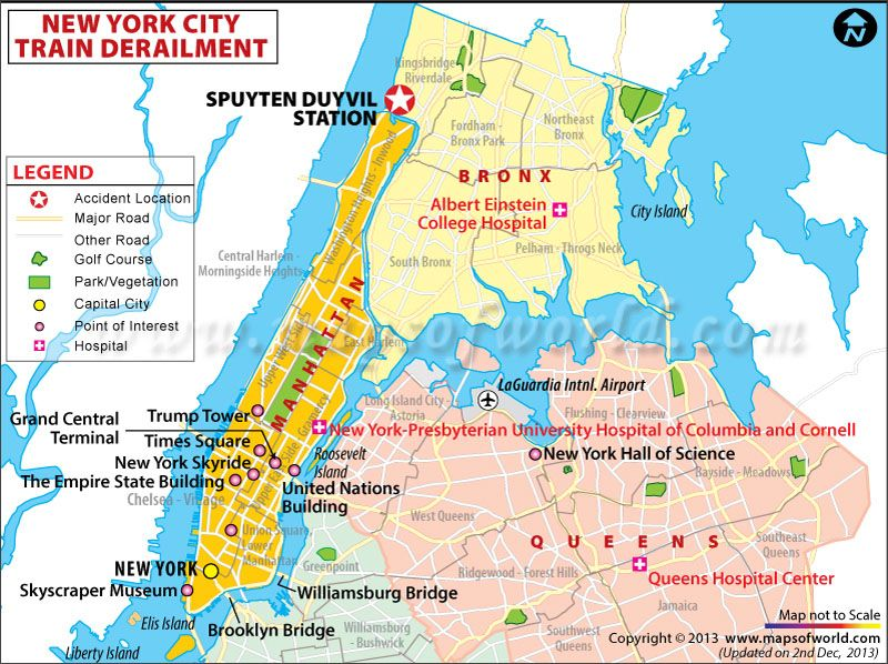 Bronx (NYC) Metro Derailment Location Map Bronx nyc