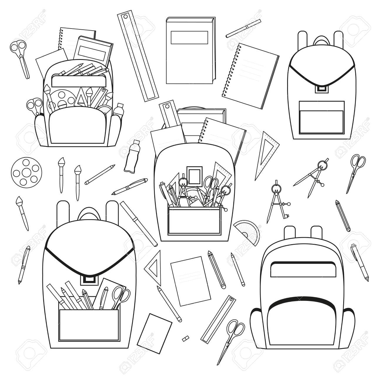 school stationery. vector set for school. backpack and