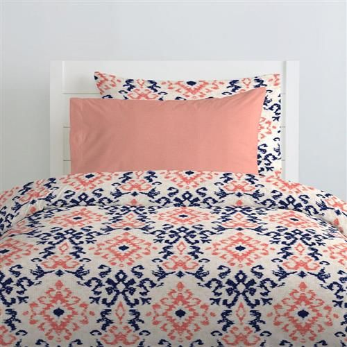 Navy And Coral Ikat Kids Bedding Luxury Bedroom Decor Bed