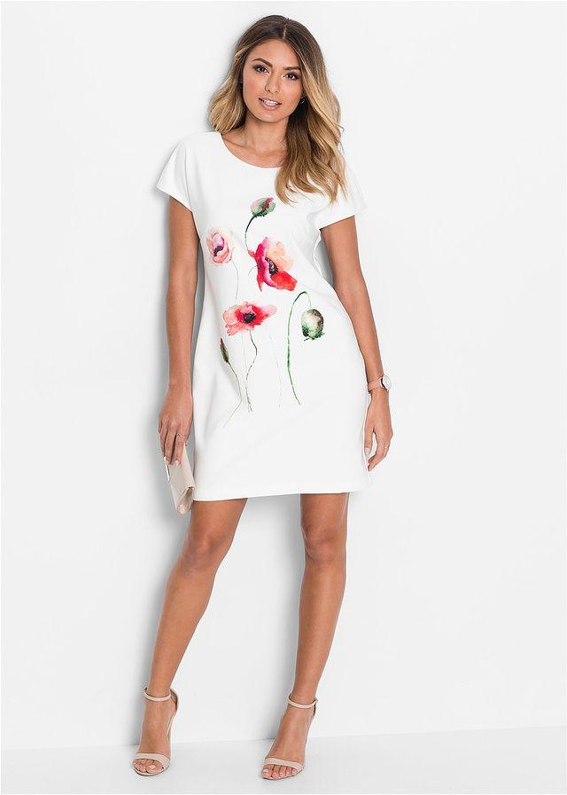 9d2fda2092 Sukienka z motywem maków z przodu. Fason dopasowany do figury z okrągłym  dekoltem i krótkimi