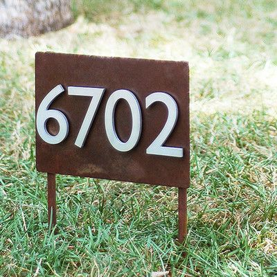 UrbanMettle Sunset Valley Yard 1-Line Lawn Address Sign Font Color: Brass