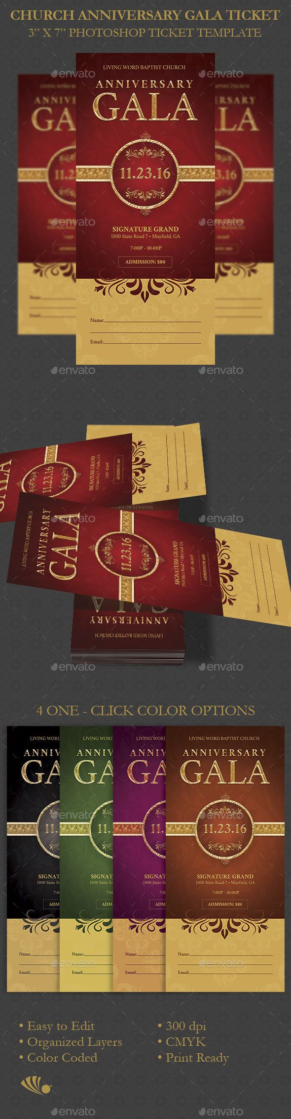 Church Anniversary Gala Ticket Template PSD Download Here Graphicriver