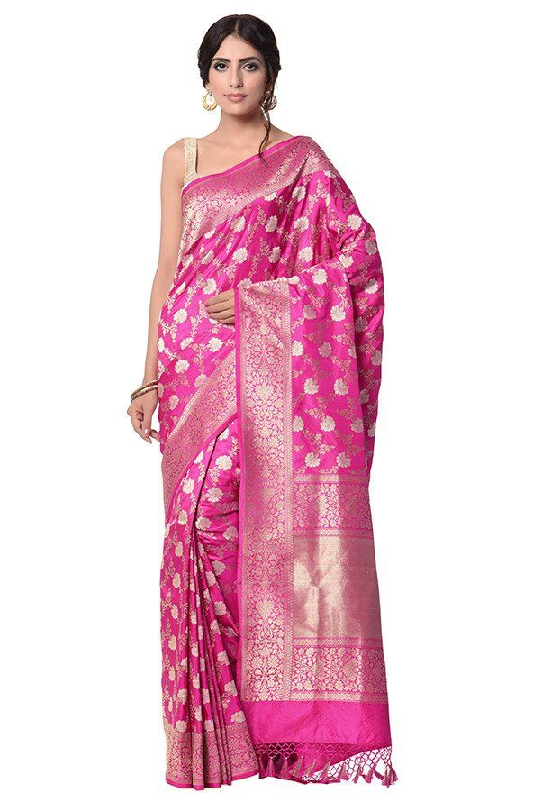 5ca30cb3d8 Hot pink Saree in kadhwa banarasi jangla | Banarasi Sarees | Pink ...