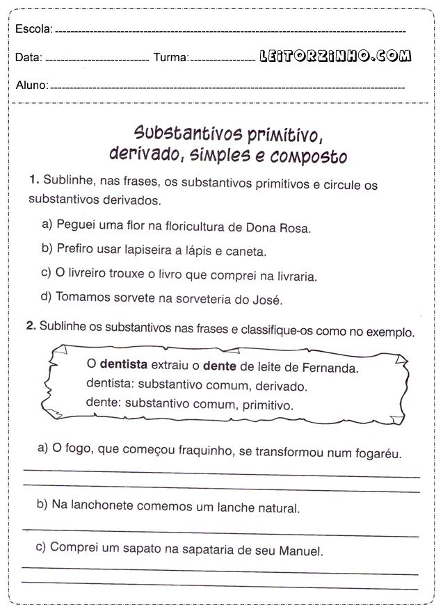 Substantivos simples lista