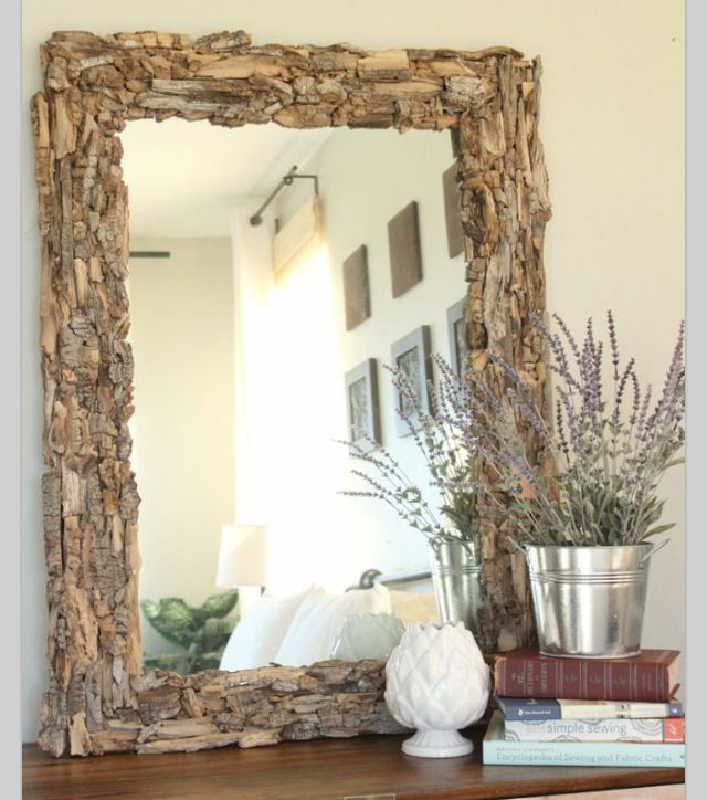 An Easy Diy For A Boring Apartment: Have A Boring Old Mirror Hot Glue Drift Wood To It And You