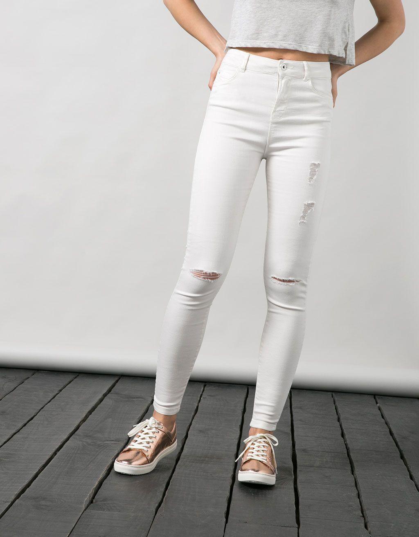 dd7623e55a Bershka-white trousers Jean Blanco Roto