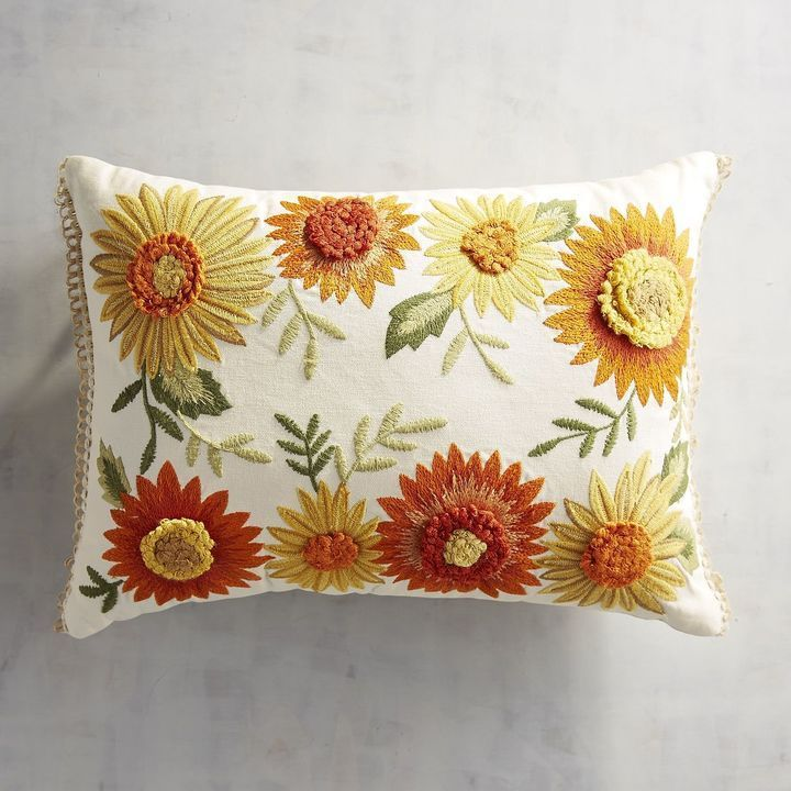 Pier 40 Imports Embroidered Multiple Sunflowers Lumbar Pillow Simple Pier 1 Pillow Covers