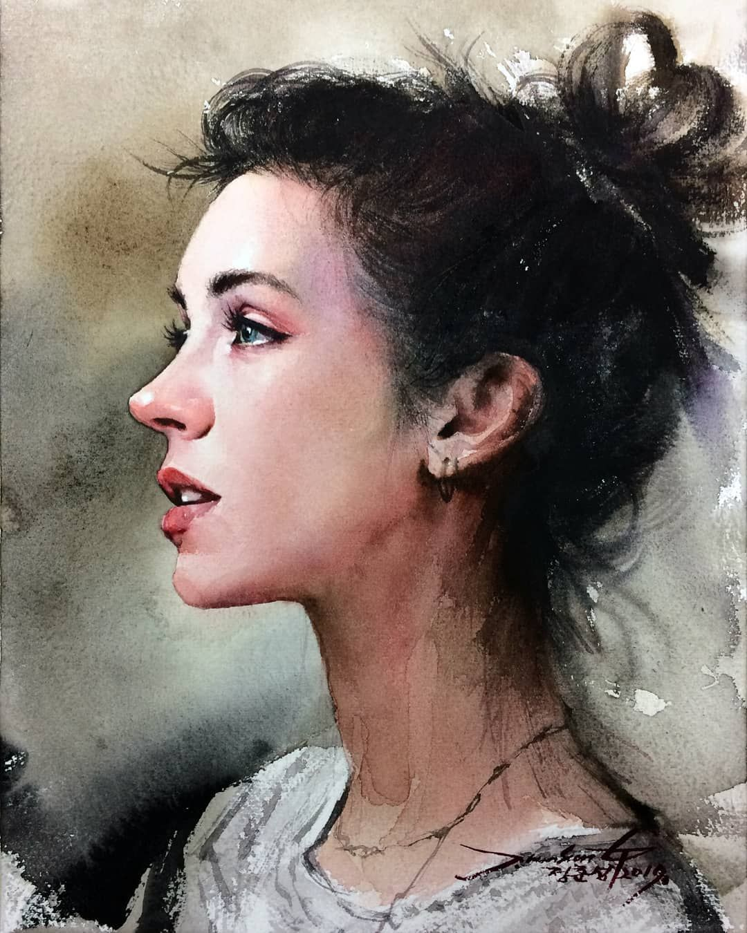 Pin By Chou On Watercolor Art Portrait Painting Watercolor