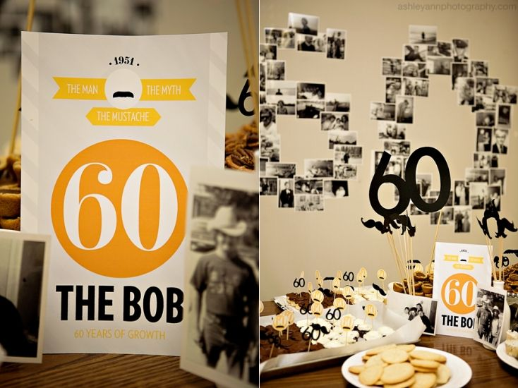 """Fun """"mustache"""" themed party for a man. I like the idea of the photos on the wall creating the number."""