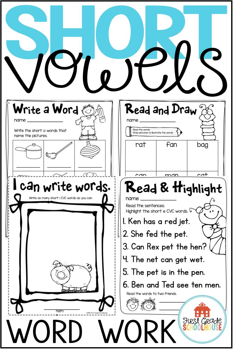 Short Vowels Worksheets Cvc Words Worksheets Bundle Cvc Words Cvc Words Worksheets Word Work [ 1152 x 768 Pixel ]