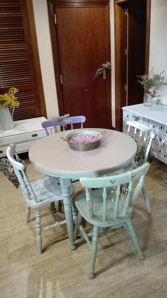Mesa de cocina redonda extensible vintage recuperada shabby | AAAA ...