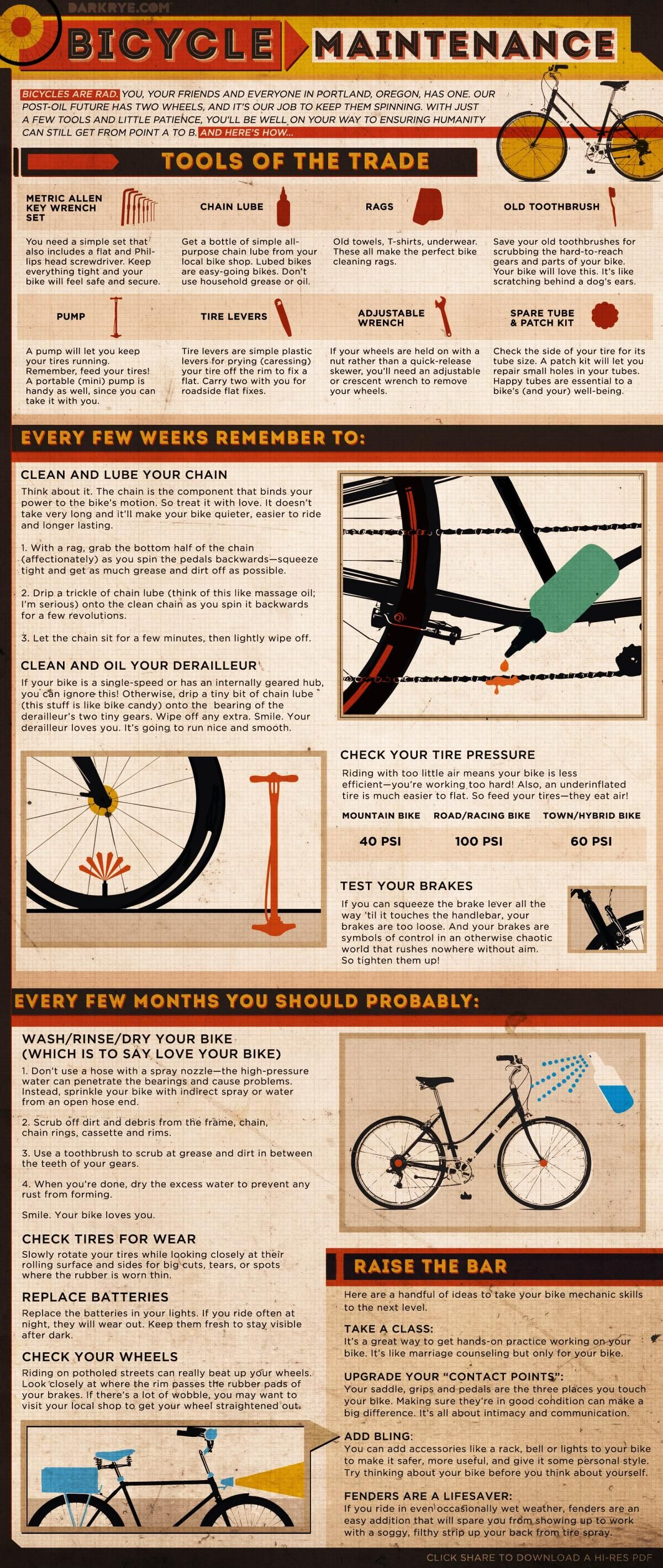 Bicycle Maintenance The Facts How Infographic Bicycle