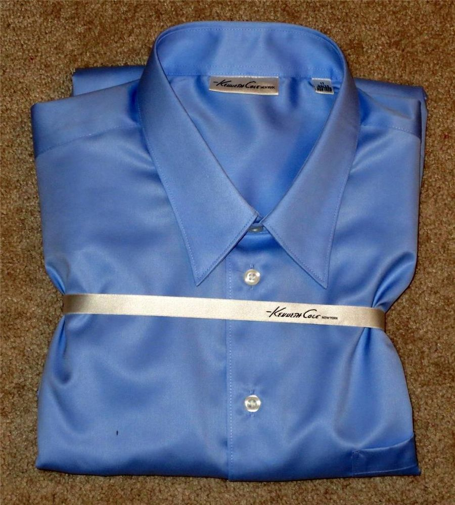 NWT Kenneth Cole Blue Fitted Long Sleeve Dress Shirt 17 34/35