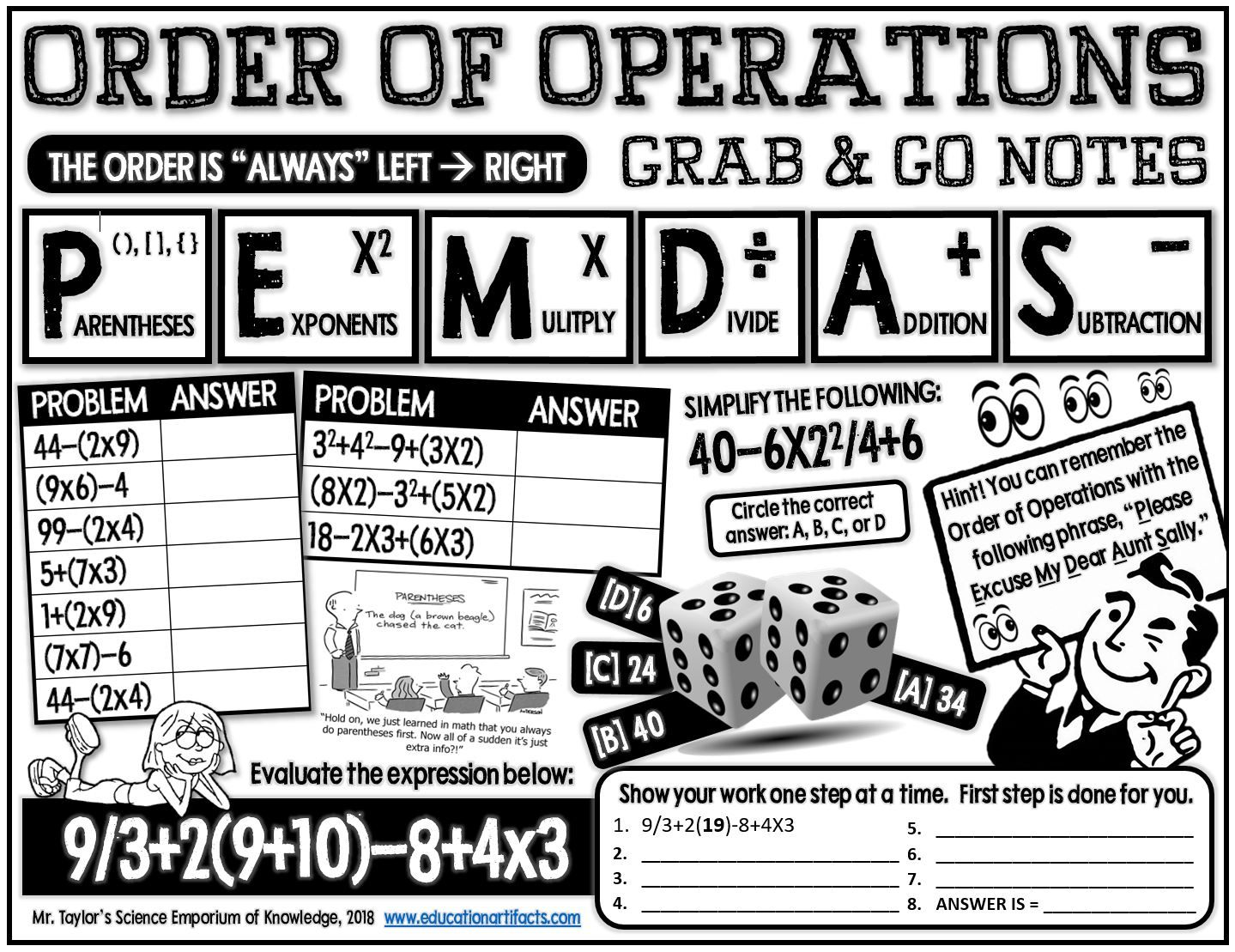 Grab And Go Notes Order Of Operations