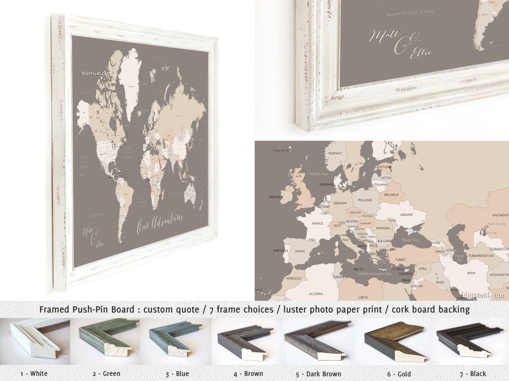 Elite framed push pin board featuring your custom quote world map elite framed push pin board featuring your custom quote world map wit blursbyai gumiabroncs Gallery