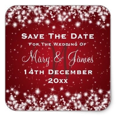 Love it!! Elegant Wedding Save The Date Winter Sparkle Red Square