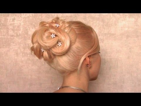 Holiday Updo Hairstyle For Medium Long Hair Big Elegant Bun For New Year S Eve Party Hair Tutorial Long Hair Styles Updo Hairstyles Tutorials