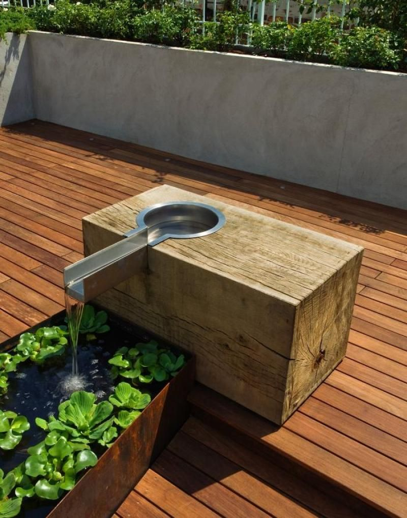 Simple But Wonderful Wooden And Iron Water Feature Design   Pulltab Design  / East Village Rooftop Garden Part 91