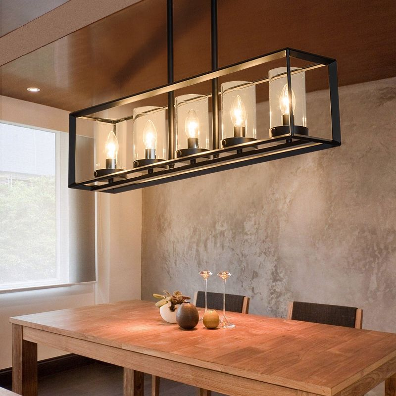 Photo of Contemporary Black Metal Frame 5-Light Kitchen Island Linear…