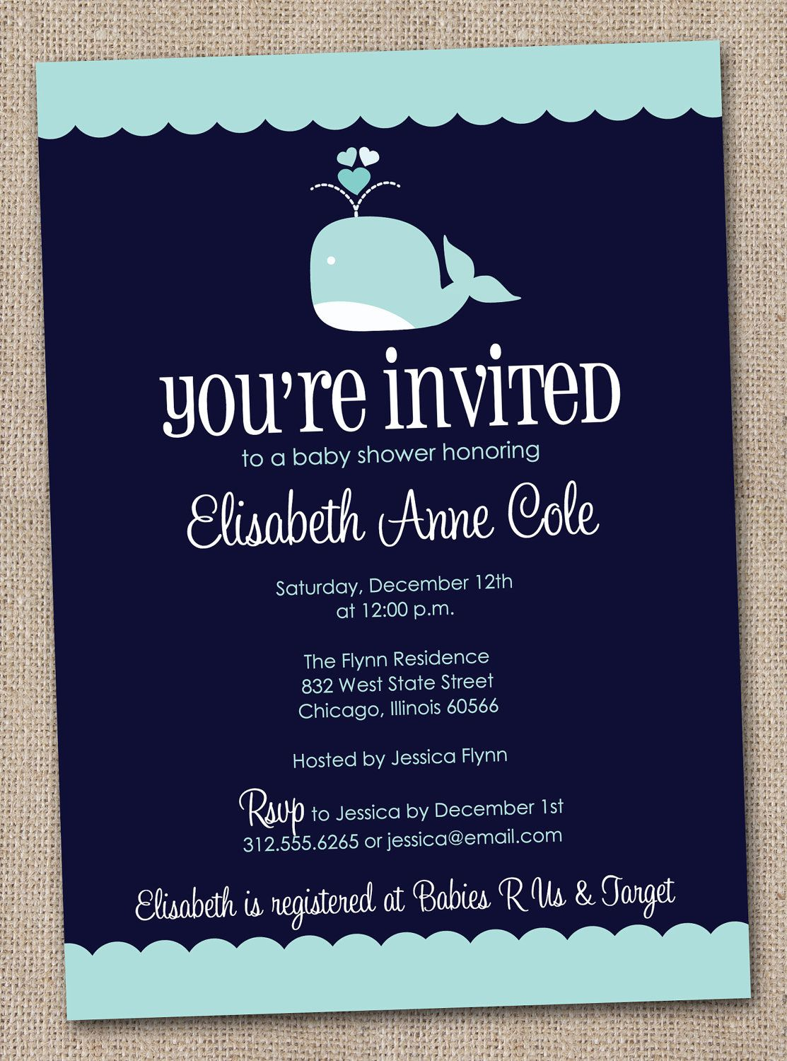 Boys Baby Shower Invitation Printable Blue Whale. $16.00, via Etsy ...