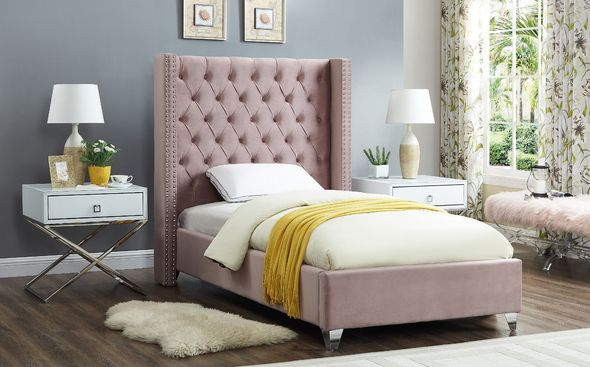 Aiden Pink Twin Size Bed Aiden Meridian Furniture Twin Size Beds Grey Bedroom Set California King Bedroom Sets Bedroom Sets Queen