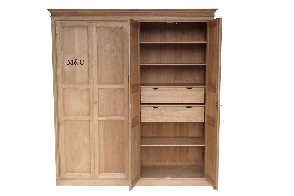 Armoire Bois Brut Dressing Bois Massif Tall Cabinet Storage Locker Storage Storage Cabinet