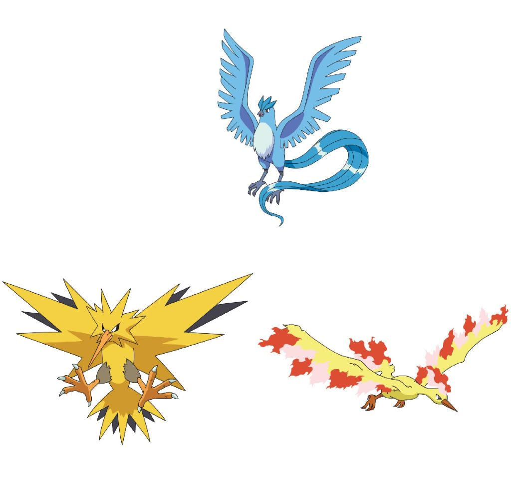 3 Legendary Birds Pokemon Pinterest